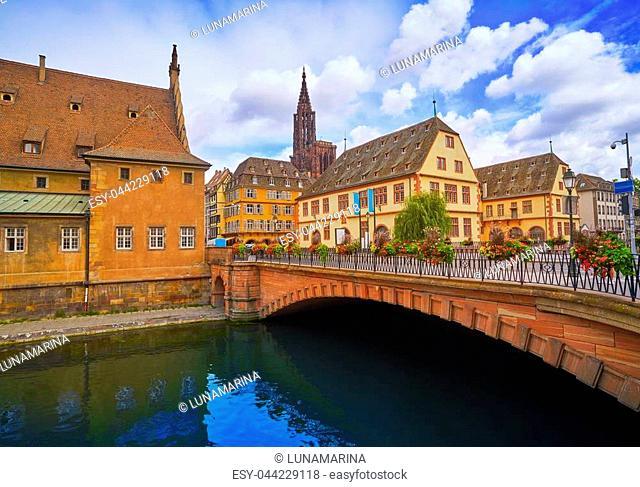 Strasbourg city facades bridge and river in Alsace France