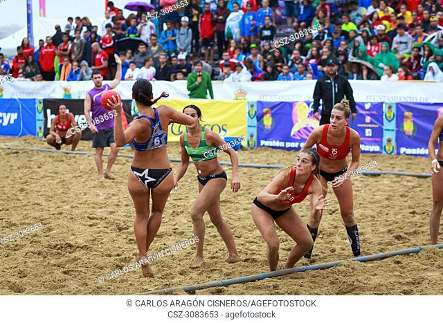 LAREDO, SPAIN - JULY 30: Juliana Xavier Andrade de Oliveira, BMP Algeciras player launches to goal in the Spain handball Championship celebrated in the beach of...