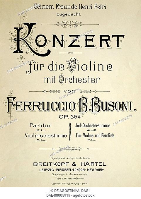 Title page of the Concert for violin op 35, by Ferruccio Busoni (1866-1924).  Bologna, Civico Museo Bibliografico Musicale (Music Museum)