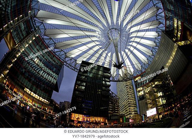 Emblematic modern set of buildings that make up the Sony Center, in Postdamer Platz  Berlin, Germany, Berlin