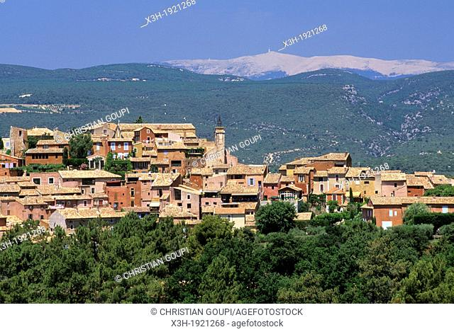Roussillon one of the most beautiful villages of France with the Mont Ventoux in background, Luberon Massif, Vaucluse department