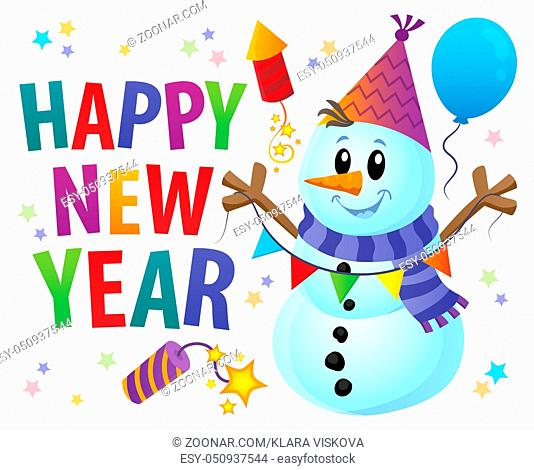 Happy New Year theme with snowman 1 - picture illustration