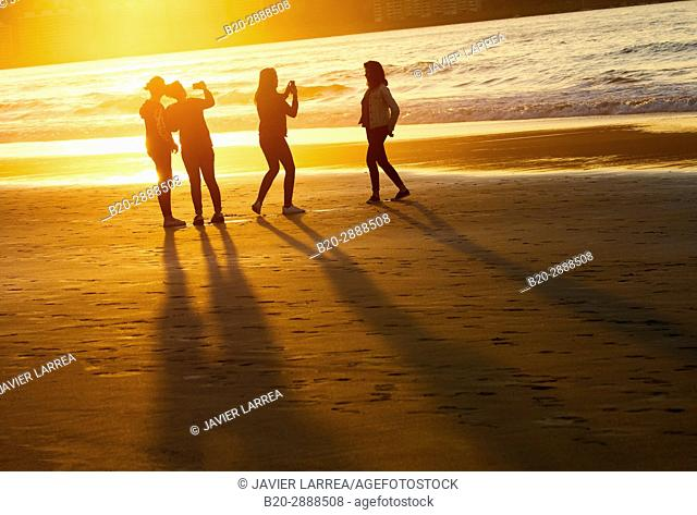 Group of friends on the beach, Hendaye, Aquitaine, Pyrenees Atlantiques, France
