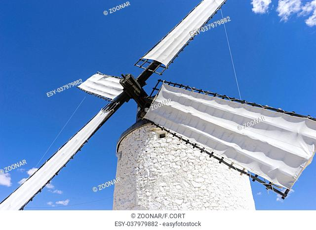 Europe, White wind mills for grinding wheat. Town of Consuegra in the province of Toledo, Spain