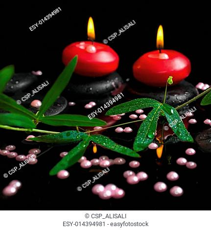 spa still life of passiflora branch, pearl beads and red candles
