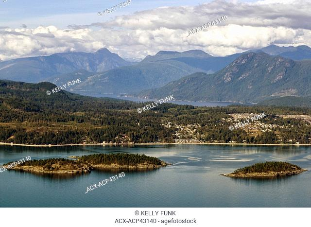 An aerial view of Sechelt, British Columbia, Sunshine Coast, Vancouver coast and mountian region, Canada