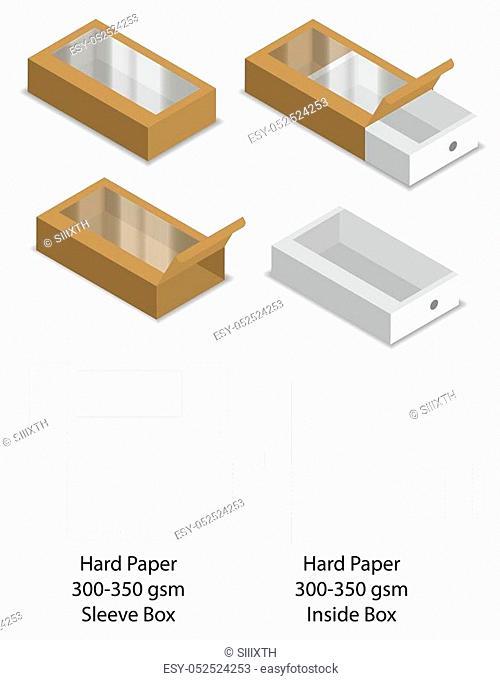 hard paper slide sleeve box mockup dieline