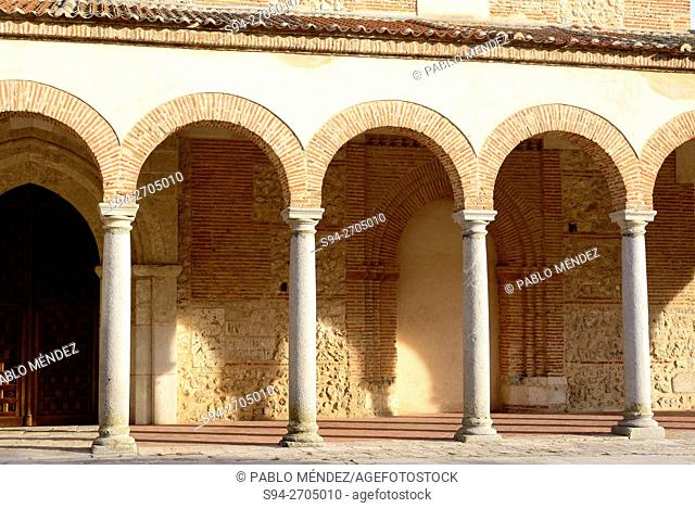 Portic of the parish church of Santa Maria in Olmedo, Valladolid, Spain