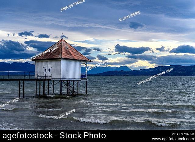Germany, Bavaria, Swabia, Lake Constance, Wasserburg, district Reutenen, bathhouse, Föhnsturm