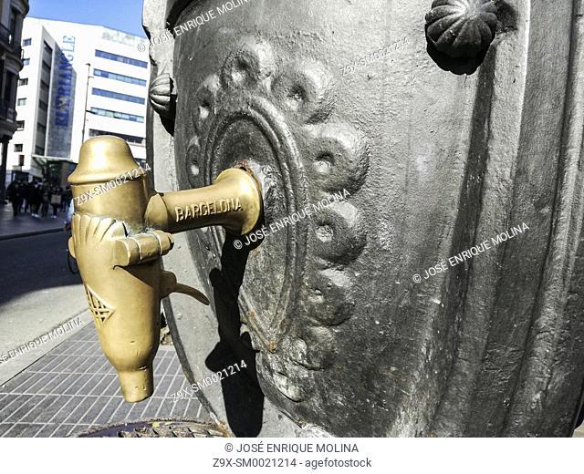 Canaletas fountain in las Ramblas boulevar, Barcelona, Catalonia, Spain