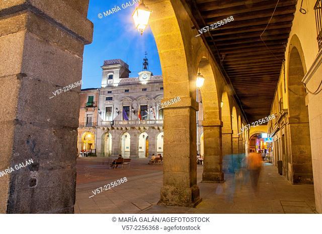 Mercado Chico Square, night view. Avila, Castilla Leon, Spain