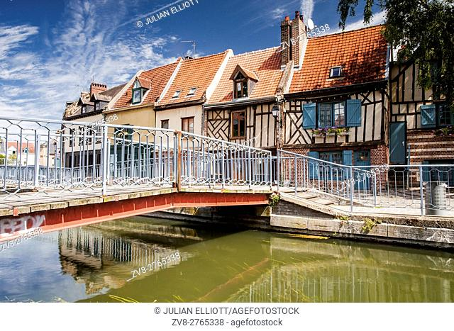 Half timbered houses in the Saint Leu district of Amiens