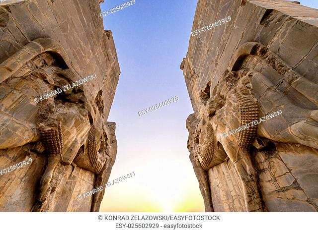 Ruins of Gate of All Nations in Persepolis ancient city in Iran