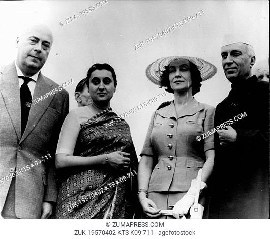 Apr. 2, 1957 - New Delhi, India - Prime Minister of Poland JOZEF CRYANKIEWICZ, Indian Prime Minister MR. NEHRU, and his daughter INDIRA GANDHI