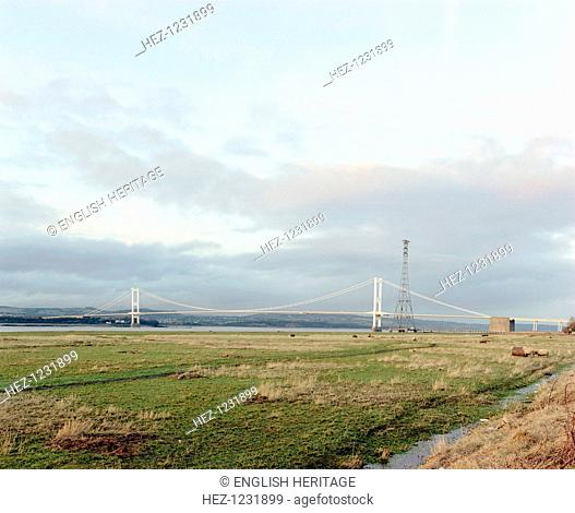 The Severn Road Bridge, Aust, Avon, 2001. Now referred to as the old Severn Bridge. The first Severn crossing was constructed between 1961 and 1966 by Freeman...
