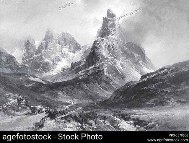 Compton Edward Theodore - Der Cimon Della Pala in Den Dolomiten Gesehen Vom Rollepass Aus (Grisaille) - German School - 19th and Early 20th Century