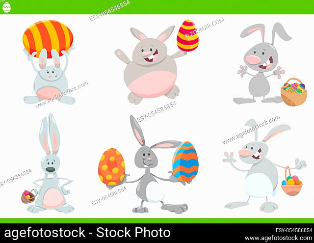 Cartoon Illustration of Funny Easter Bunnies on Easter Holiday Time with Colored Eggs Set