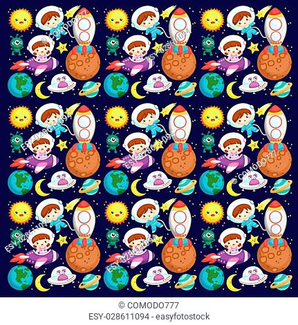 Kids at the outer space background