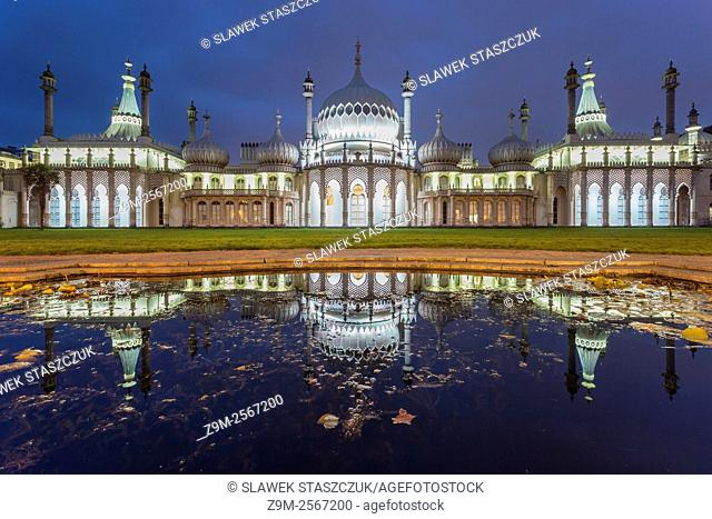 Evening at Royal Pavilion in Brighton, East Sussex, England