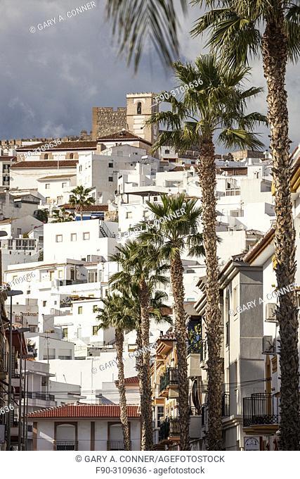 Church and castle dominate town in Salobreña, Granada, Spain