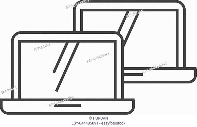 Laptops icon in thin outline style. Electronic computer network connection internet intranet local area
