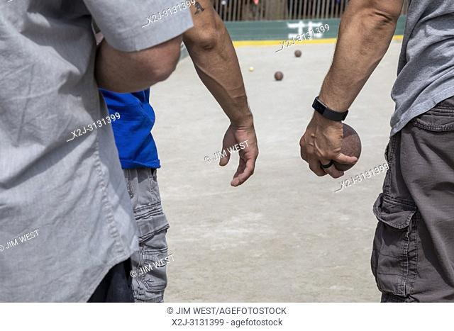 Dearborn, Michigan - Italian-American men play in a bocce tournament during the annual Dearborn homecoming festival