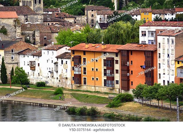 Miranda de Ebro view for Ebro river and historic part of the city, Burgos province, Castile and León, on the border with the province of Álava and the...
