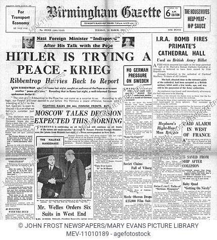 1940 front page Birmingham Gazette Von Ribbentrop reports on Rome visit to Hitler. 12th March 1940 issue
