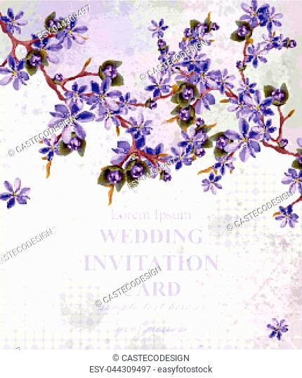 Vintage Wedding Invitation card with purple flowers Vector. Beautifull frame decor