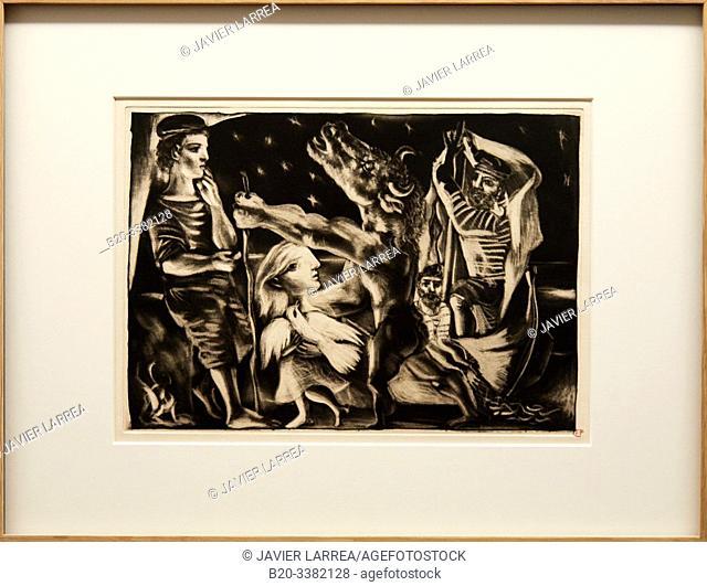 """""""Minotaure aveugle guidé par Marie.Thérèse au pigeon dans une nuit étoilée"""", 1935, Pablo Picasso, Picasso Museum, Paris, France, Europe"""
