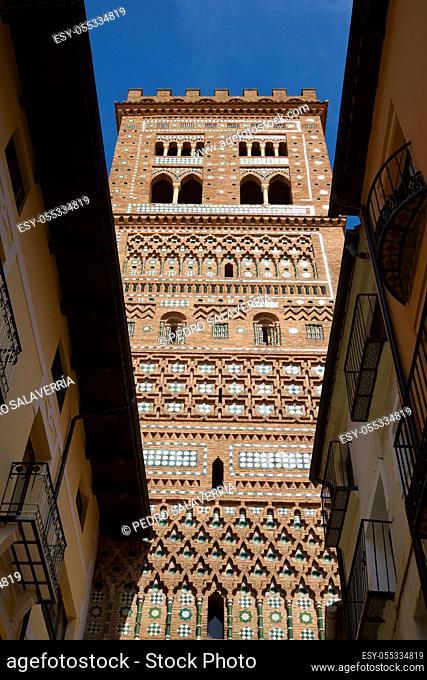 Mudejar tower of San Salvador in Teruel city, Aragon in Spain