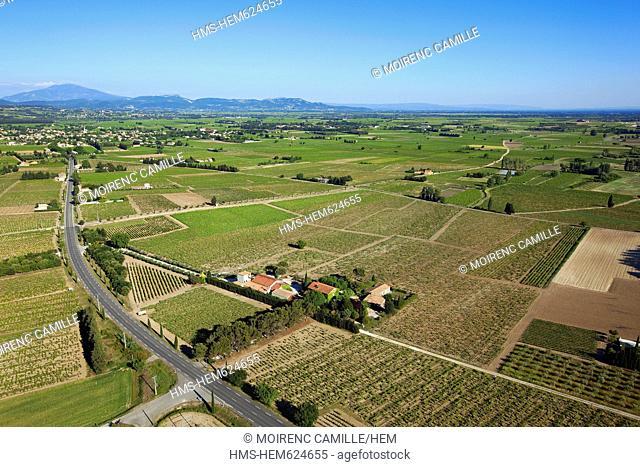 France, Vaucluse, Ste Cecile les Vignes, Domaine de la Grand'Ribe, vineyards AOC Cotes du Rhone aerial view