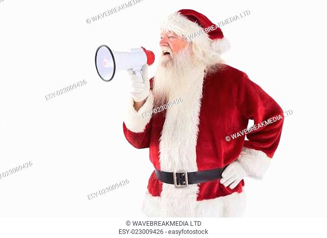 Santa Claus is using a megaphone