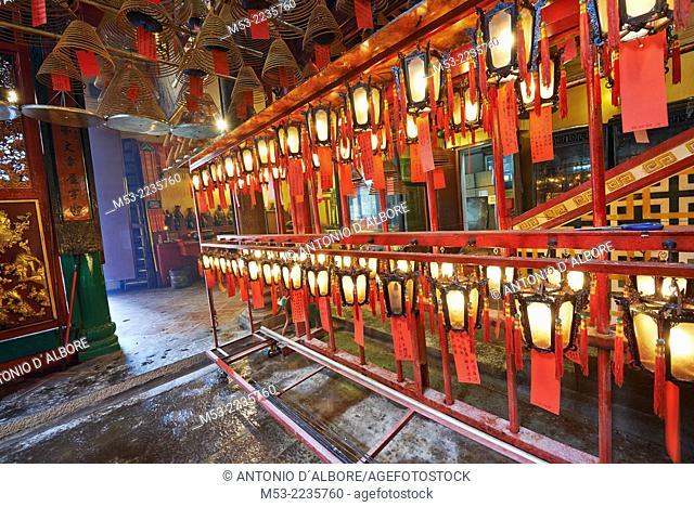 Lanterns and incense coils at Man Mo Temple. Hollywood Road, Sheung Wan. Hong Kong