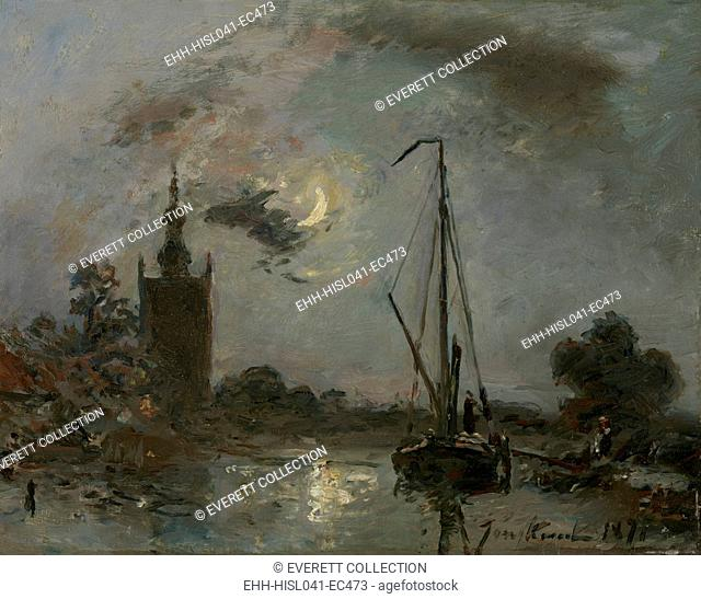 Overschie in the Moonlight, by Johan Barthold Jongkind, 1871, Dutch painting, oil on canvas. Near Rotterdam, a sailboat is moored near a church tower