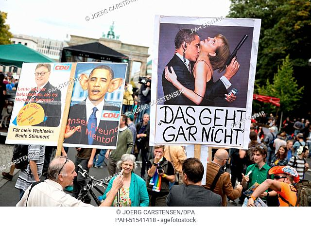 """Protesters attend the demonstration """"""""Liberty instead of Fear"""""""" in Berlin, Germany, 30 August 2014. The demonstrators protested against state surveillance"""