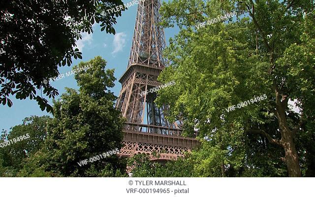Upward tilt of the Eiffel Tower through treetops