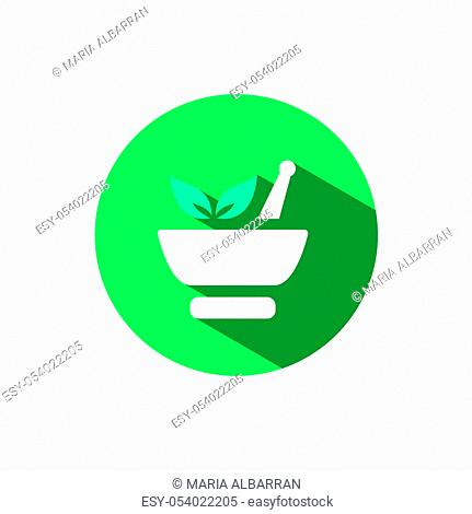Mortar icon and leaves with shadow on a green circle. Flat color vector pharmacy illustration