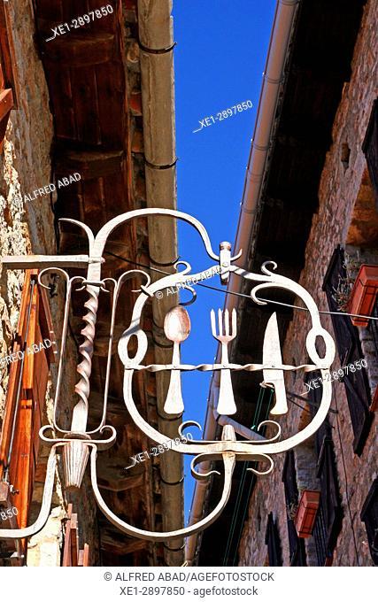 Restaurant sign, Castellar de n'Hug, Catalonia, Spain