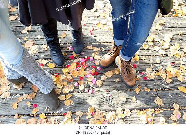 Footwear and legs of three women standing on a boardwalk in autumn; New Westminster, British Columbia, Canada