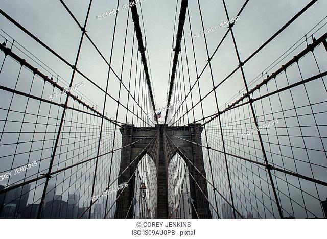 Low angle view of Brooklyn Bridge symmetry, New York, USA