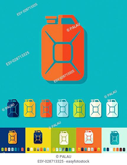 jerrycan icon in flat design with long shadows