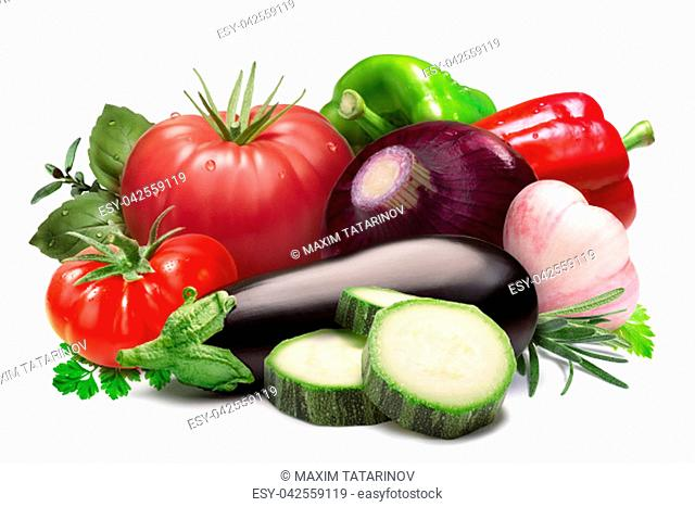 Heirloom tomatoes, bell peppers, herbs, onion, garlic, aubergine, zucchini. Ratatouille raw ingredients. Clipping paths, shadow separated