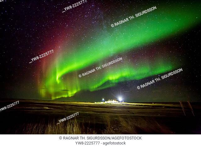 Aurora Borealis or Northern Lights by the town of Gardur, Reykjanes Peninsula, Iceland