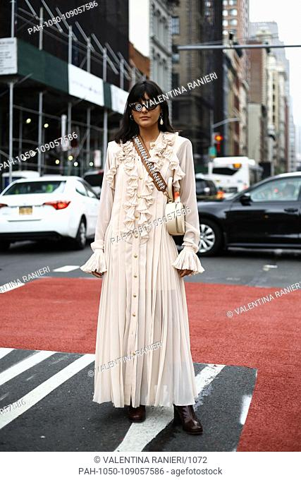 María Bernad posing on the street outside of the Maryam Nassir show during New York Fashion Week - Sept 12, 2018 - Photo: Runway Manhattan ***For Editorial Use...