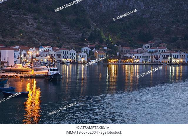 Kastellorizo Town, port at night Kastellorizo, Dodecanese, Greece