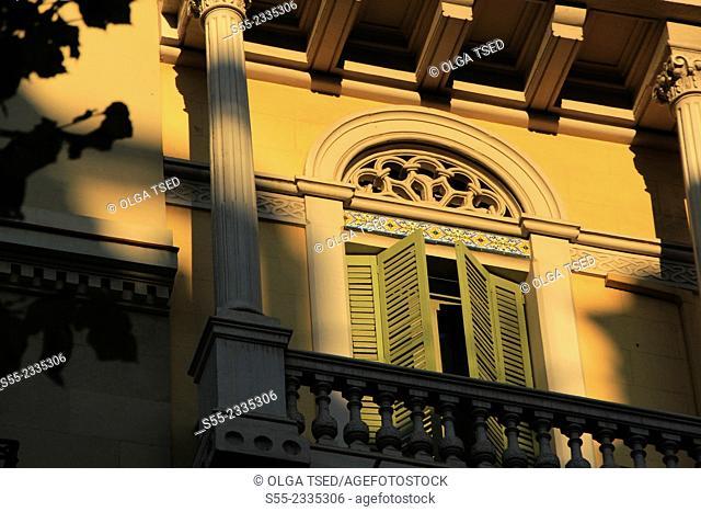 Window and balcony detail. Rambla Catalunya, Barcelona, Catalonia, Spain