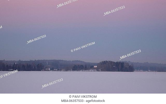 beautiful, beauty, blue, branches, cold, color, colorful, evening, Finland, forest, frost, frozen, heaven, horizont, horizontal, ice, iced lake, january
