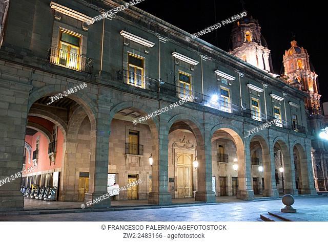 Colonial building illuminated at night. San Luis Potosi, SLP. Mexico