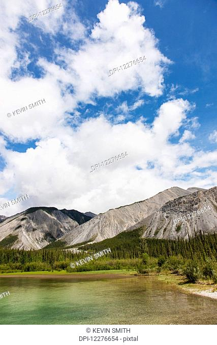 Scenic view of Muncho Lake, Muncho Lake Provincial Park, British Columbia, Canada, Summer